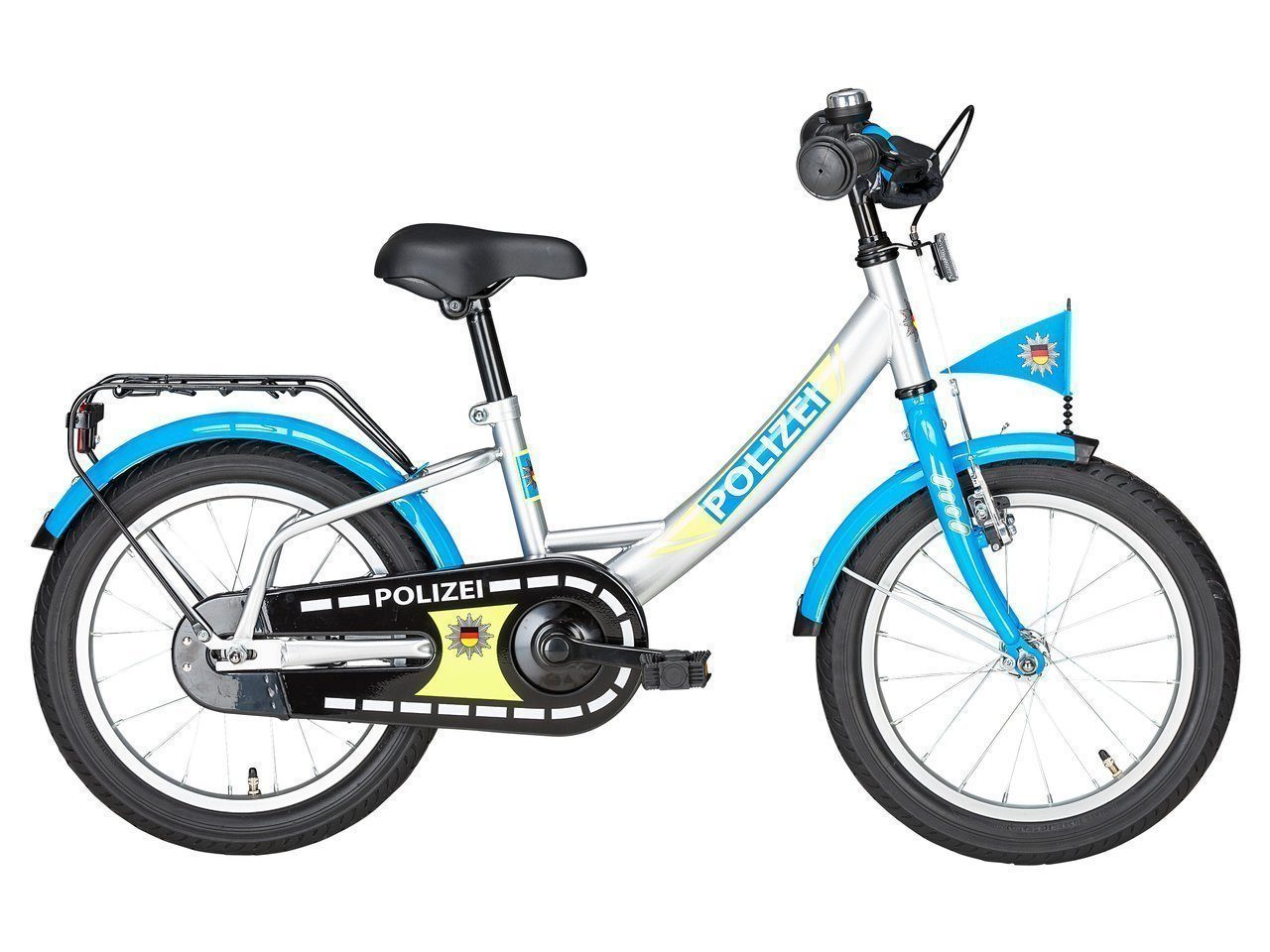 polizei kinderfahrrad kinderfahrrad 16 zoll silber blau. Black Bedroom Furniture Sets. Home Design Ideas